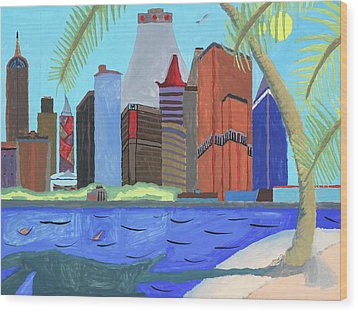 Wood Print featuring the painting Skyline by Artists With Autism Inc