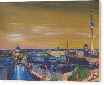 Skyline Of Berlin At Sunset Wood Print by M Bleichner