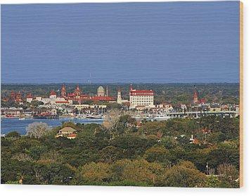 Skyline Of St Augustine Florida Wood Print by Christine Till