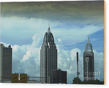 Skyline Over  Mobile Wood Print