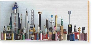 Skyline Sculpture Wood Print by Ron Davidson