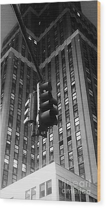 Skyscraper Framed Traffic Light Wood Print by James Aiken