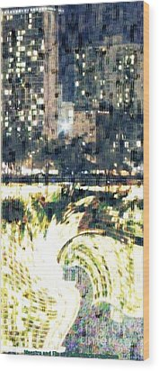 Skyscraper Reflection Painting Wood Print by PainterArtist FIN