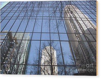 Skyscraper Reflections - Charlotte Nc Wood Print