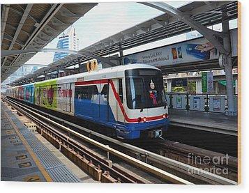 Skytrain Carriage Metro Railway At Nana Station Bangkok Thailand Wood Print by Imran Ahmed