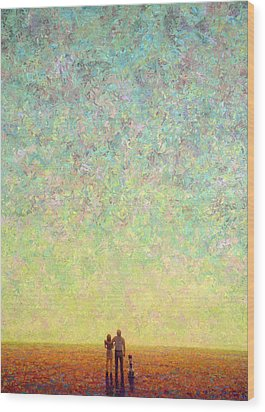 Skywatching In A Painting Wood Print by James W Johnson