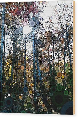Skyway Forest At Dawn Wood Print by Linda Bailey