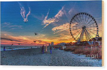 Skywheel Sunset At Myrtle Beach Wood Print