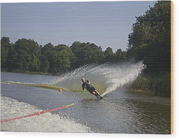 Slalom Waterskiing Wood Print by Venetia Featherstone-Witty