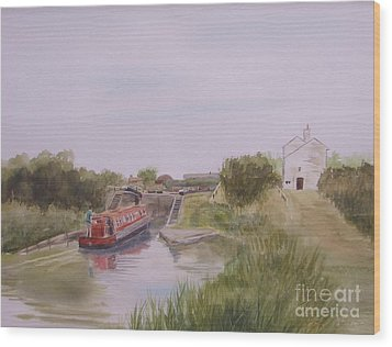Wood Print featuring the painting Slapton Lock by Martin Howard