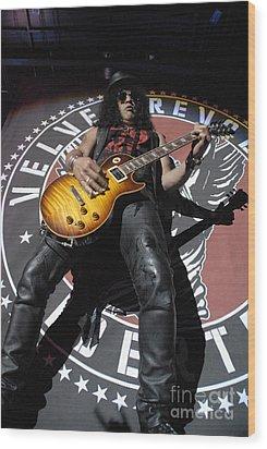 Slash Guitarist Wood Print by Jenny Potter