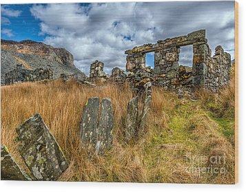 Slate Mine Ruins Wood Print by Adrian Evans