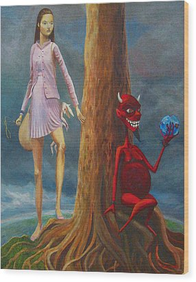 Slaying The Devil Who Eats My Dreams Wood Print by Mindy Huntress