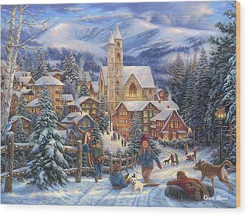 Sledding To Town Wood Print by Chuck Pinson