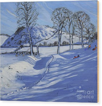 Sledging  Derbyshire Peak District Wood Print by Andrew Macara