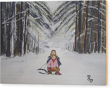 Sledging In The Wood Wood Print by Carole Robins
