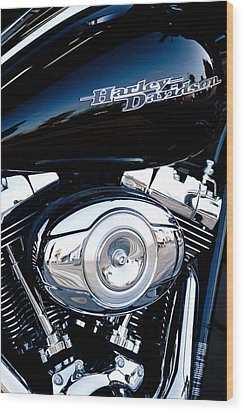 Sleek Black Harley Wood Print by David Patterson