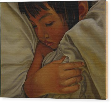Wood Print featuring the painting Sleep by Thu Nguyen