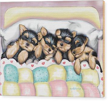 Sleeping Babies Wood Print by Catia Cho