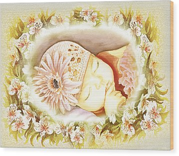 Wood Print featuring the painting Sleeping Baby Vintage Dreams by Irina Sztukowski