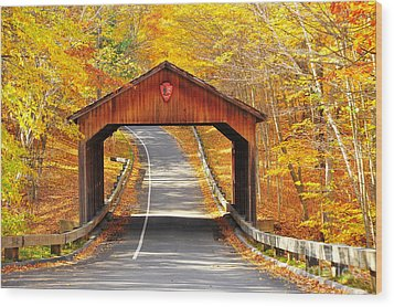 Sleeping Bear National Lakeshore Covered Bridge Wood Print by Terri Gostola
