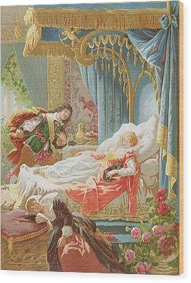 Sleeping Beauty And Prince Charming Wood Print by Frederic Lix
