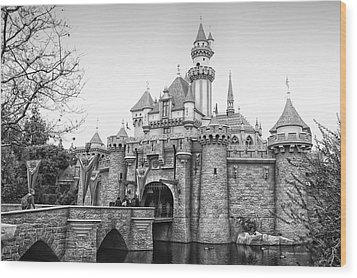 Sleeping Beauty Castle Disneyland Side View Bw Wood Print by Thomas Woolworth