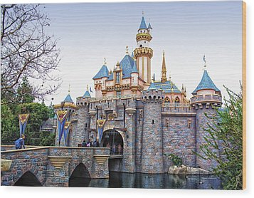 Sleeping Beauty Castle Disneyland Side View Wood Print by Thomas Woolworth