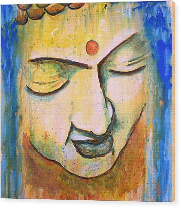 Wood Print featuring the painting Sleeping Buddha Head by Bob Baker