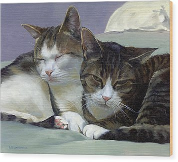 Wood Print featuring the painting Sleeping Buddies by Alecia Underhill