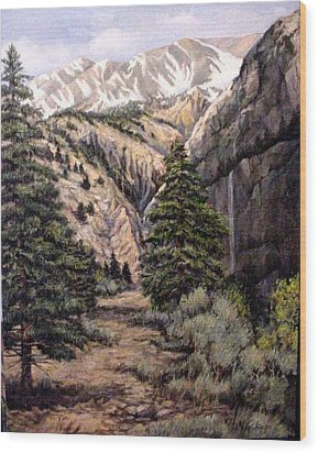Wood Print featuring the painting Sleeping Faces In The Rock by Donna Tucker
