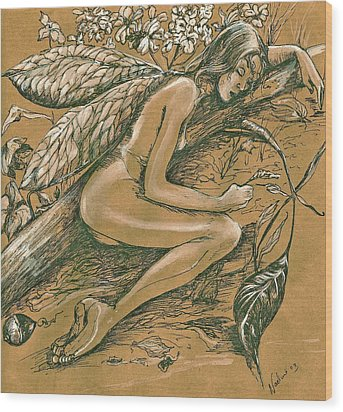 Sleeping Faery Wood Print