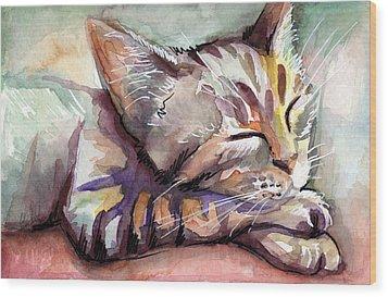 Sleeping Kitten Wood Print