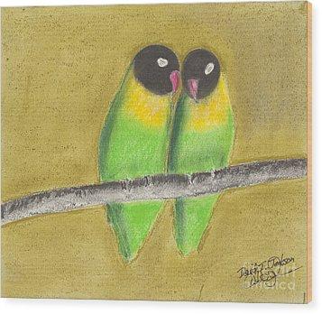 Wood Print featuring the pastel Sleeping Love Birds by David Jackson