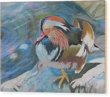 Sleeping Mandarin Duck Wood Print