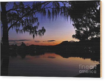 Sleeping Sun Wood Print by Kaye Menner