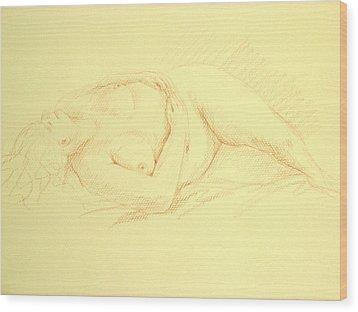Sleeping Woman Wood Print by Deborah Dendler