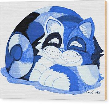 Sleepy Blue Cat Wood Print by Nick Gustafson