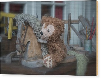 Wood Print featuring the photograph Sleepy Cowboy Bear by Thomas Woolworth