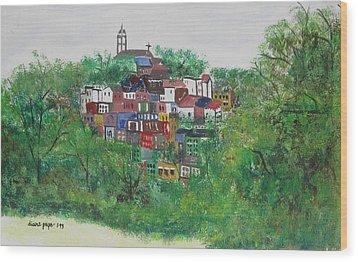 Sleepy Little Village Wood Print