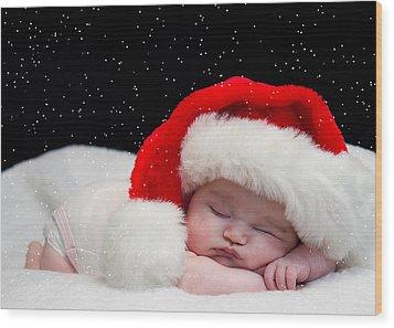 Sleepy Santa Baby Wood Print by Trudy Wilkerson