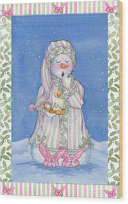 Sleepy-time Snowgal Wood Print