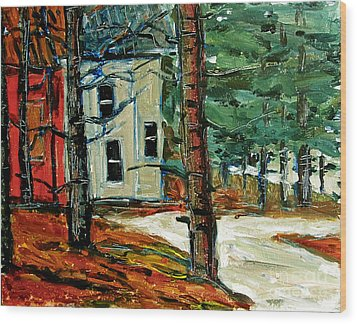 Sleet And Rain At The Mock Place Wood Print by Charlie Spear