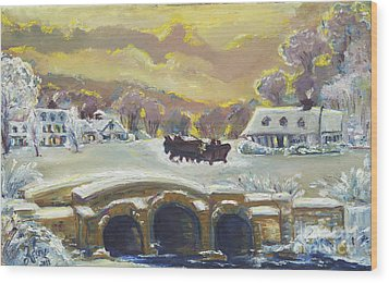 Sleigh Ride By The Creek Wood Print