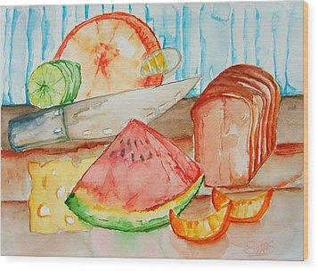 Slice It Wood Print by Elaine Duras
