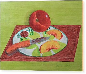Wood Print featuring the painting Sliced Peach by Melvin Turner