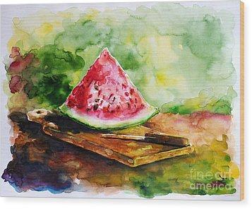 Sliced Watermelon Wood Print by Zaira Dzhaubaeva