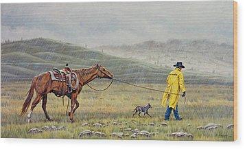 Slicker Weather Wood Print by Paul Krapf