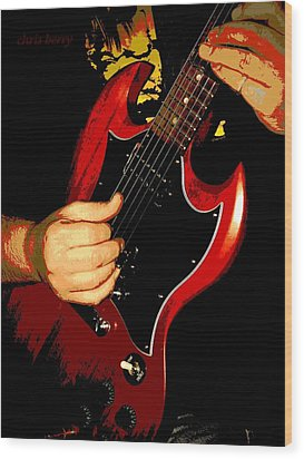 Red Gibson Guitar Wood Print by Chris Berry