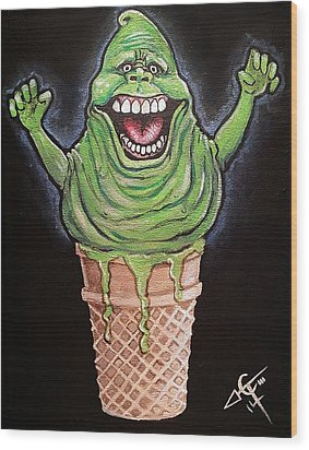 Slimer Cone Wood Print by Tom Carlton